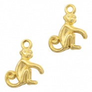 Metal charms monkey Light Gold (nickel free)
