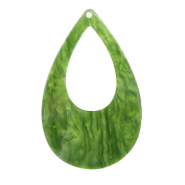 Resin pendants drop Olive Green