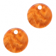 Resin pendants round 12mm Flame Orange