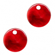 Resin pendants round 12mm Cherry Red