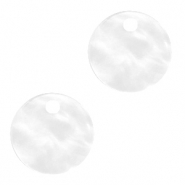 Resin pendants round 12mm Bright White