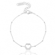 Stainless steel bracelets belcher chain cut out heart Silver