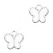 Metal charms butterfly Silver-White