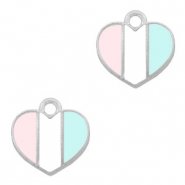 Metal charms heart Silver-Light Blue White Pink