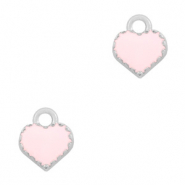 Metal charms heart Silver-Pink