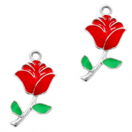 Metal charms rose Silver-Red Green