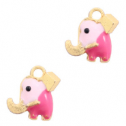 Metal charms elephant Gold-Pink