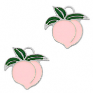 Metal charms peach Silver-Pink