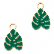 Metal charms tropical leaf Gold-Green