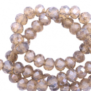 Top faceted beads 6x4mm disc Colorado Topaz Grey-Pearl Shine Coating