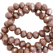Top faceted beads 6x4mm disc Tawny Brown-Pearl Shine Coating