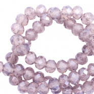 Top faceted beads 8x6mm disc Anthracite Purple-Pearl Shine Coating