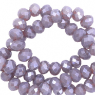 Top faceted beads 6x4mm disc Greige Purple-Pearl Shine Coating
