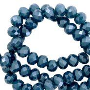Top faceted beads 8x6mm disc Peacoat Blue-Pearl Shine Coating