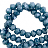Top faceted beads 3x2mm disc Peacoat Blue-Pearl Shine Coating
