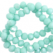 Top faceted beads 6x4mm disc Bleached Aqua Green-Amber Coating
