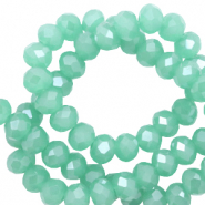 Top faceted beads 8x6mm disc Light Emerald Green-Pearl Shine Coating