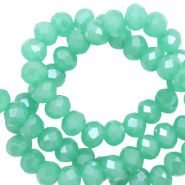 Top faceted beads 4x3mm disc Light Emerald Green-Pearl Shine Coating