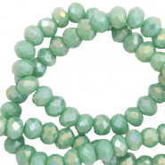 Top faceted beads 4x3mm disc Nile Green-Diamond Shine Coating