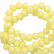 Top faceted beads 8x6mm disc Sunshine Yellow-Pearl Shine Coating