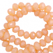 Top faceted beads 6x4mm disc Apricot Rose-Pearl Shine Coating