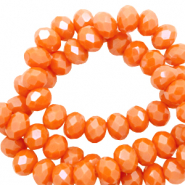 Top faceted beads 3x2mm disc Persimmon Orange-Pearl Shine Coating