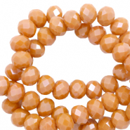 Top faceted beads 4x3mm disc Bronze Orange-Pearl Shine Coating