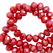 Top faceted beads 6x4mm disc Carmine Red-Pearl Shine Coating