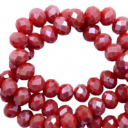 Top faceted beads 3x2mm disc Dark Carmine Red-Pearl Shine Coating