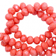 Top faceted beads 6x4mm disc Coral Red-Pearl Shine Coating