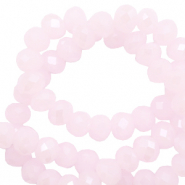 Top faceted beads 8x6mm disc Light Orchid Pink-Pearl Shine Coating