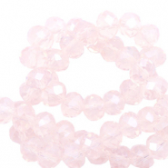 Top faceted beads 8x6mm disc Seashell Pink-Pearl Shine Coating