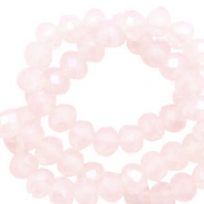 Top faceted beads 6x4mm disc Seashell Pink-Pearl Shine Coating