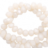 Top faceted beads 8x6mm disc Ivory Beige-Pearl Shine Coating