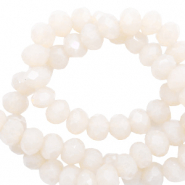 Top faceted beads 4x3mm disc Ivory Beige-Pearl Shine Coating