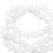 Top faceted beads 8x6mm disc White-Pearl Shine Coating