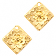 DQ European metal charms flower rhombus Gold (nickel free)