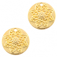 DQ European metal charms flower round 22mm Gold (nickel free)