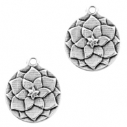 DQ European metal charms flower round 17mm Antique Silver (nickel free)