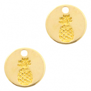 DQ European metal charms pineapple round 13mm Gold (nickel free)