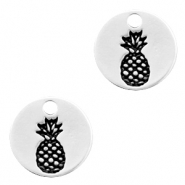 DQ European metal charms pineapple round 13mm Antique Silver (nickel free)