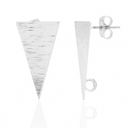 DQ European metal findings earpin triangle with loop Antique Silver (nickel free)