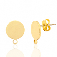 DQ European metal findings earpin round 10mm with loop Gold (nickel free)