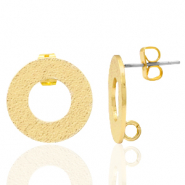 DQ European metal findings earpin round with loop Gold (nickel free)