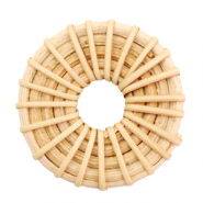 Braided rattan pendants round 40mm Natural Brown