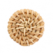 Braided rattan pendants round 30mm Natural Brown