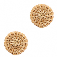 Braided rattan pendants round 20mm Natural Brown