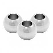 Stainless Steel findings beads round 6mm (Ø3.2mm) Silver