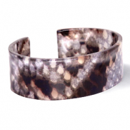 Ready-made Bracelets resin snake shiny Brown-Grey