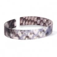 Ready-made Bracelets resin loose fit snake matt Blue-Brown